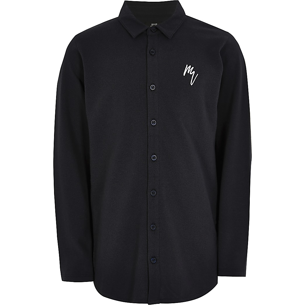 Boys navy long sleeve pique shirt