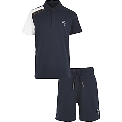Boys navy maison polo tape set