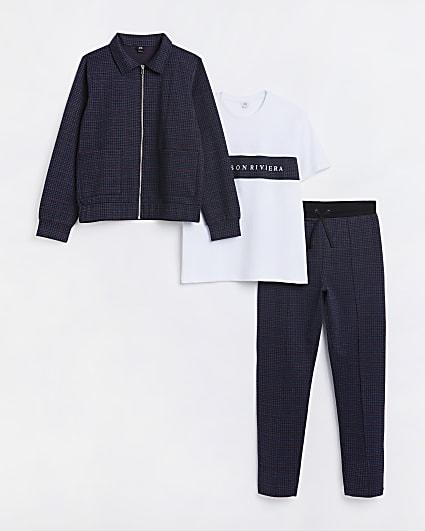 Boys navy Maison Rivera check 3 piece outfit