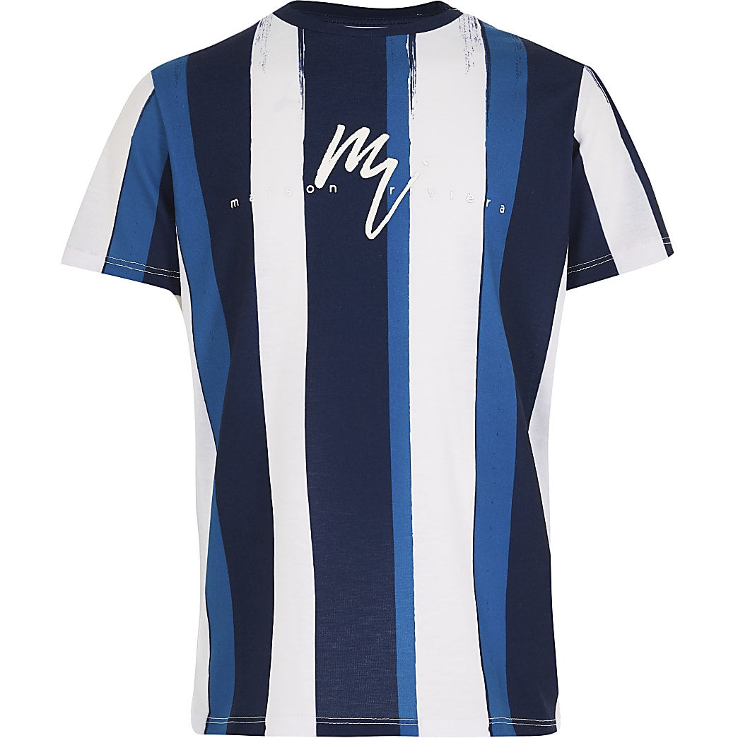 Boys navy Maison Rivier stripe t-shirt