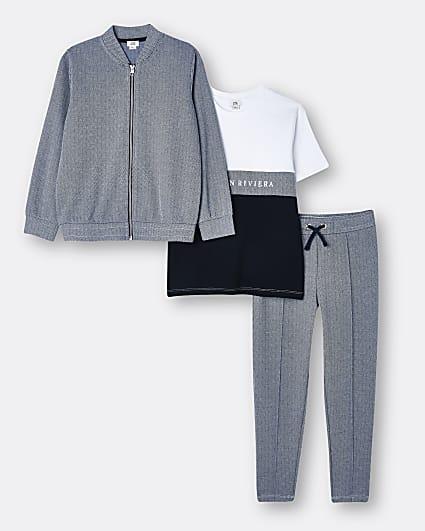 Boys navy Maison Riviera 3 piece outfit