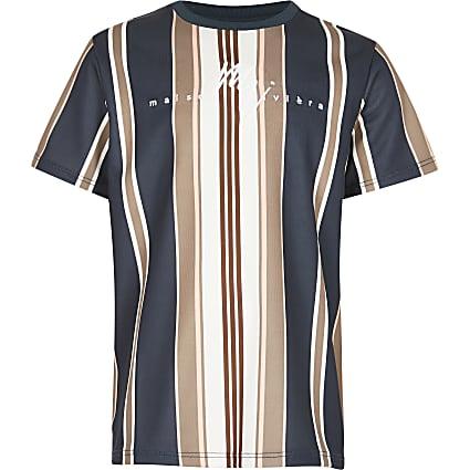 Boys navy 'Maison Riviera' stripe t-shirt