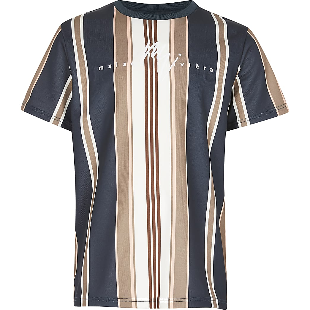 Boys navy 'Maison Riviera' stripe t-shirt