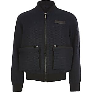 Maison Riviera – Marineblaue Jacke mit Struktur für Jungen