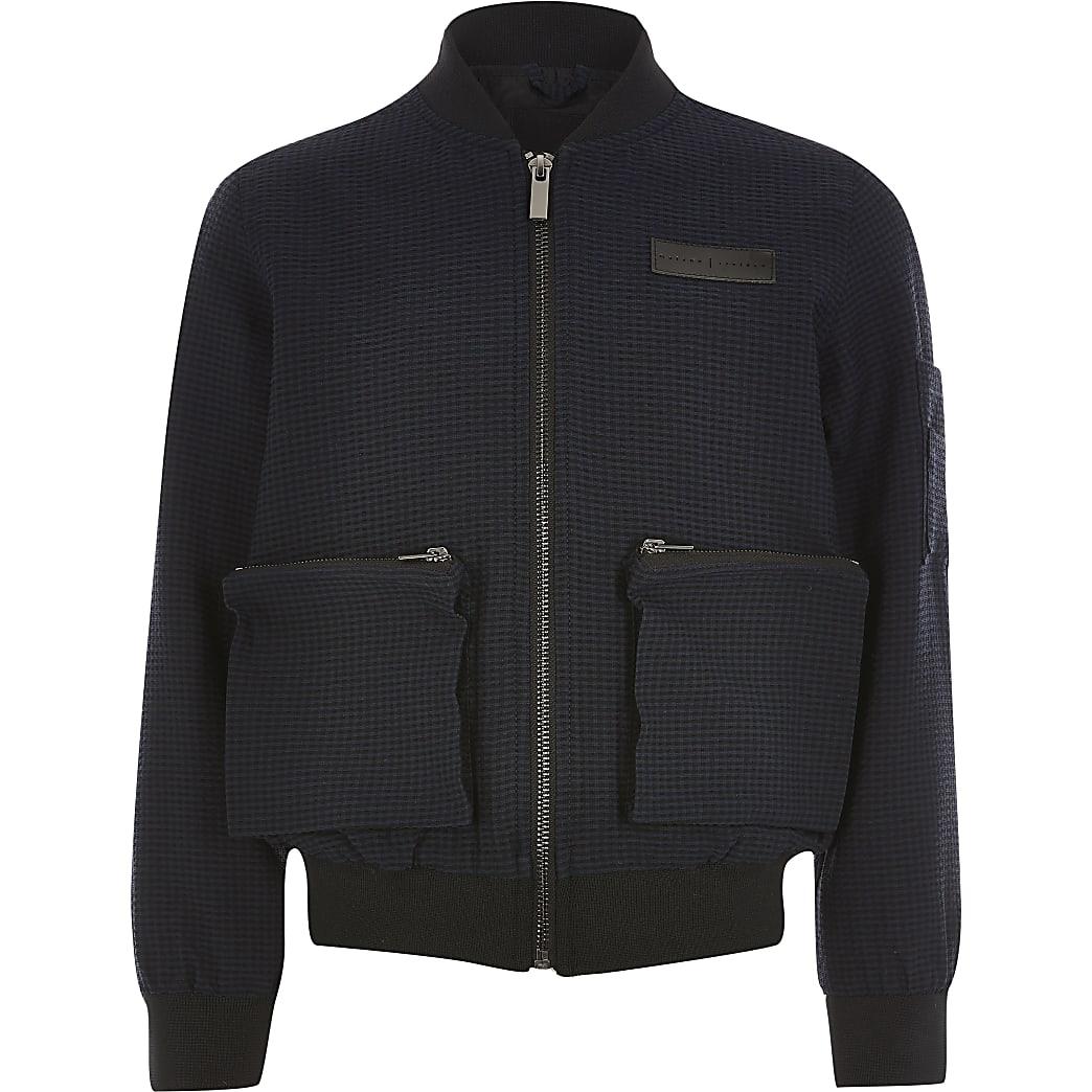 Boys navy Maison Riviera textured jacket