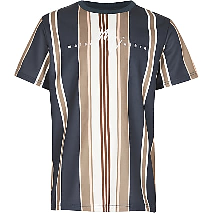 Boys navy 'Masion Riviera ' stripe t-shirt