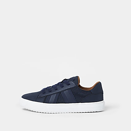 Boys navy mesh detail trainers