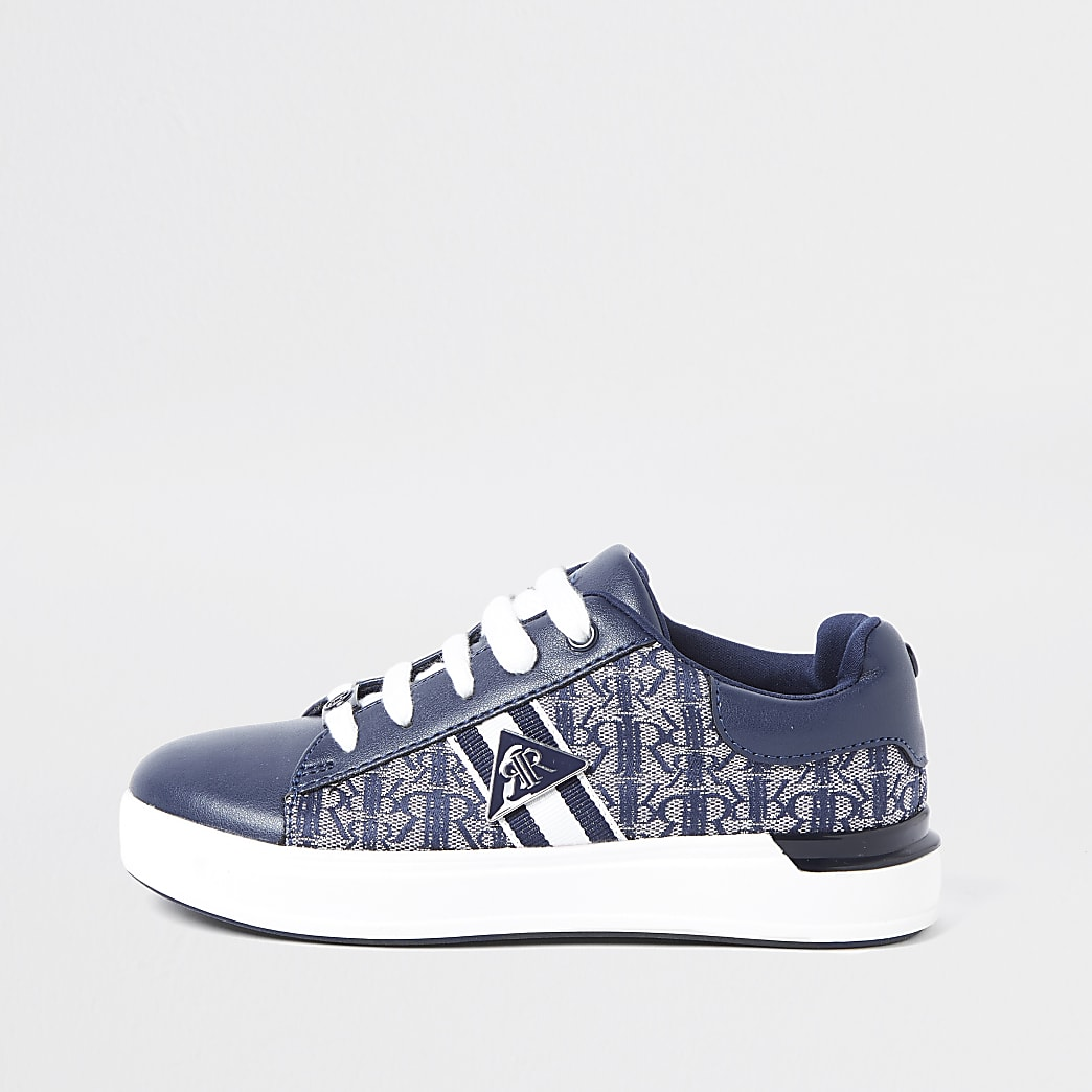 Boys navy monogram jacquard lace up trainers