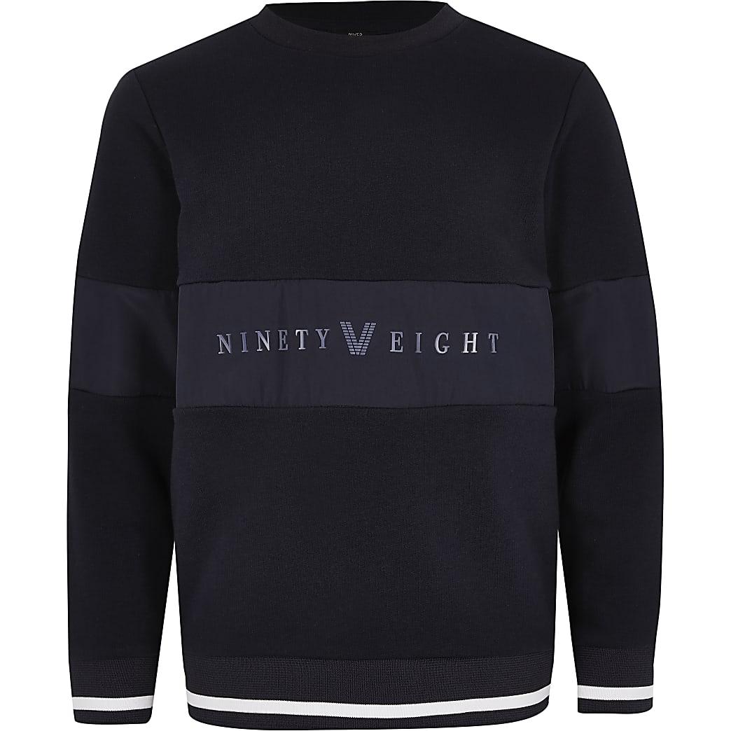Boys navy 'Ninety eight' panel sweatshirt