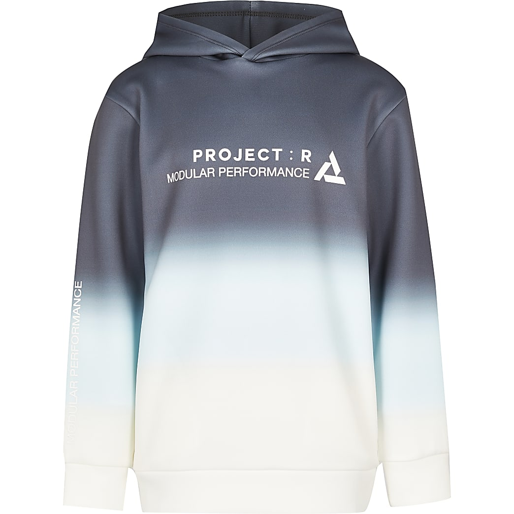 Boys navy ombre 'Project R' print hoodie