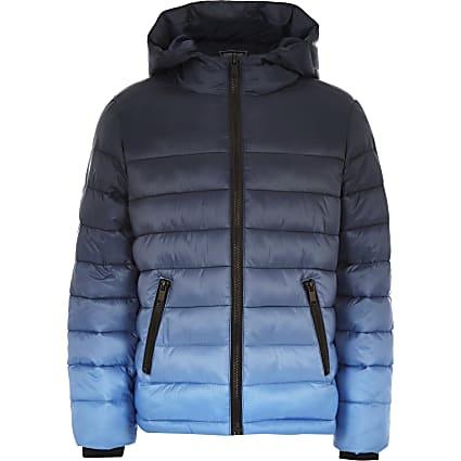 Boys navy ombre puffer jacket