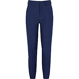 Boys navy pin dot slim fit suit trousers