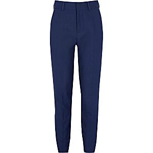 Marineblaue Slim Fit Anzughose mit kleinen Punkten für Jungen