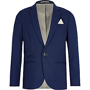 Boys navy pin dot suit blazer