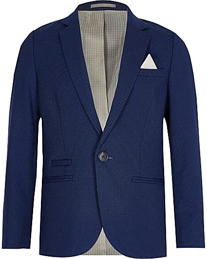 Boys navy pin dot suit blazer