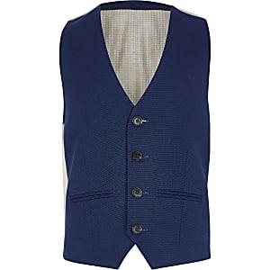 Gilet de costume bleu marine à pois pour garçon