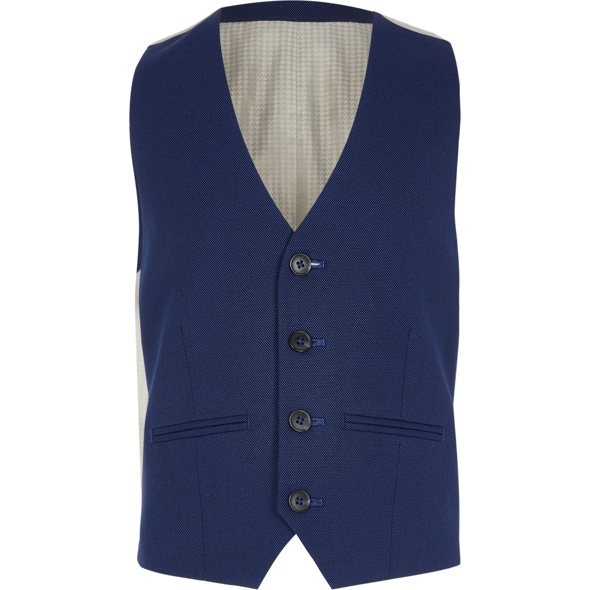 Boys navy pin dot suit waistcoat