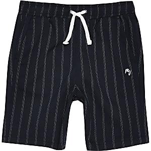 Marineblauwe short met krijtstreep voor jongens
