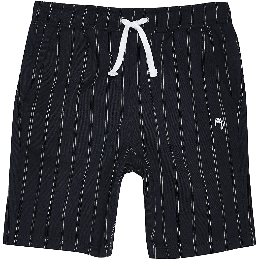 Boys navy pinstripe shorts