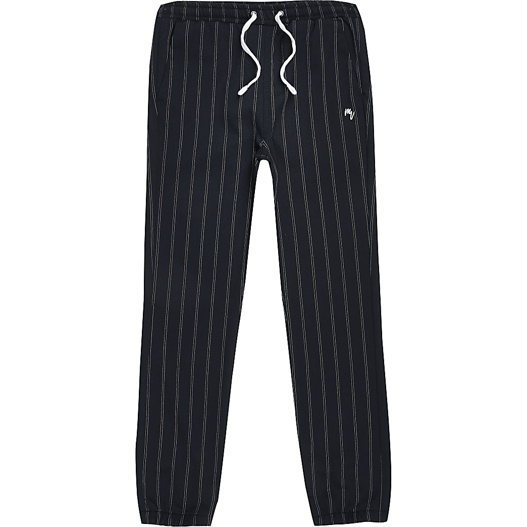 Boys navy pinstripe smart joggers