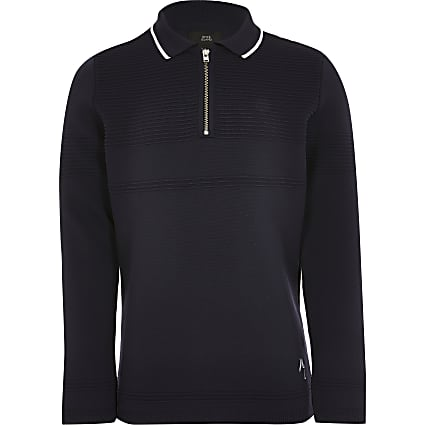 Boys navy polo jumper
