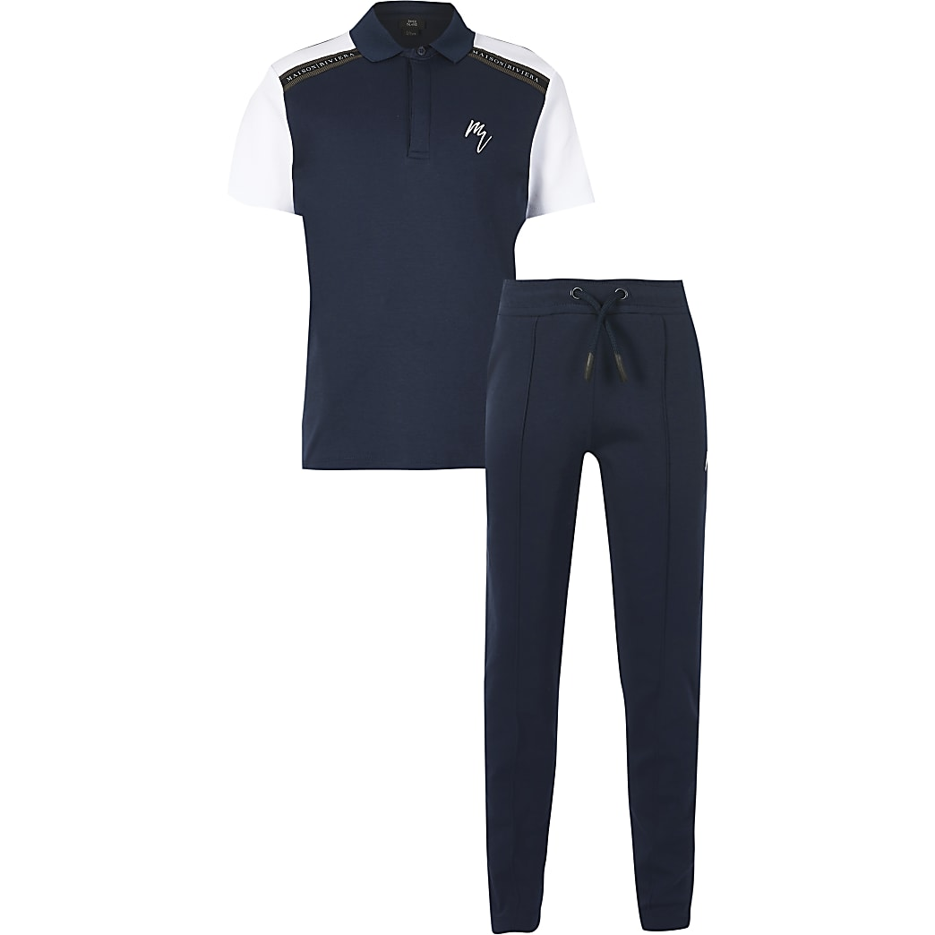 boys navy polo maison tape outfit
