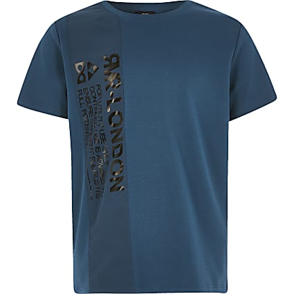 Boys navy printed nylon blocked T-shirt