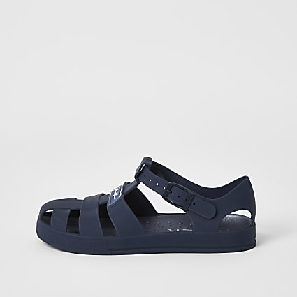 Boys navy Prolific caged jelly sandals