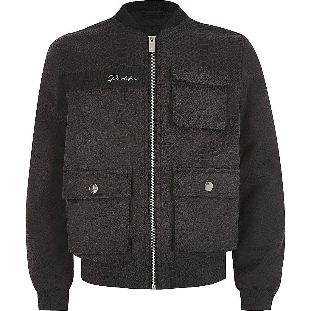 Boys navy Prolific snake jacquard jacket
