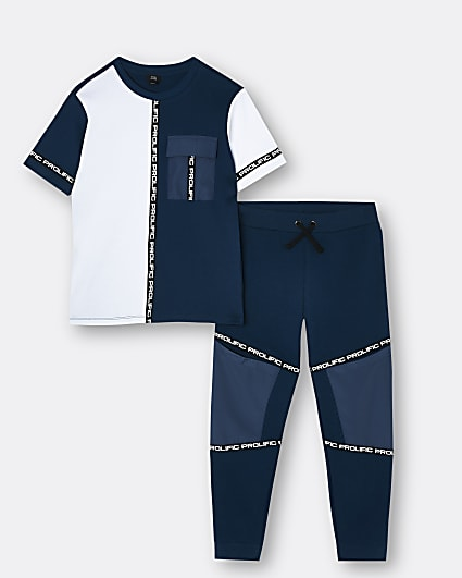 Boys navy Prolific t-shirt and joggers outfit