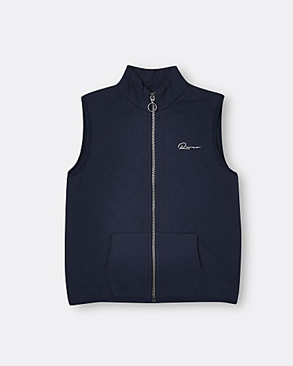 Boys navy quilted River gilet