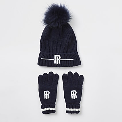 Boys navy RI beanie and gloves set