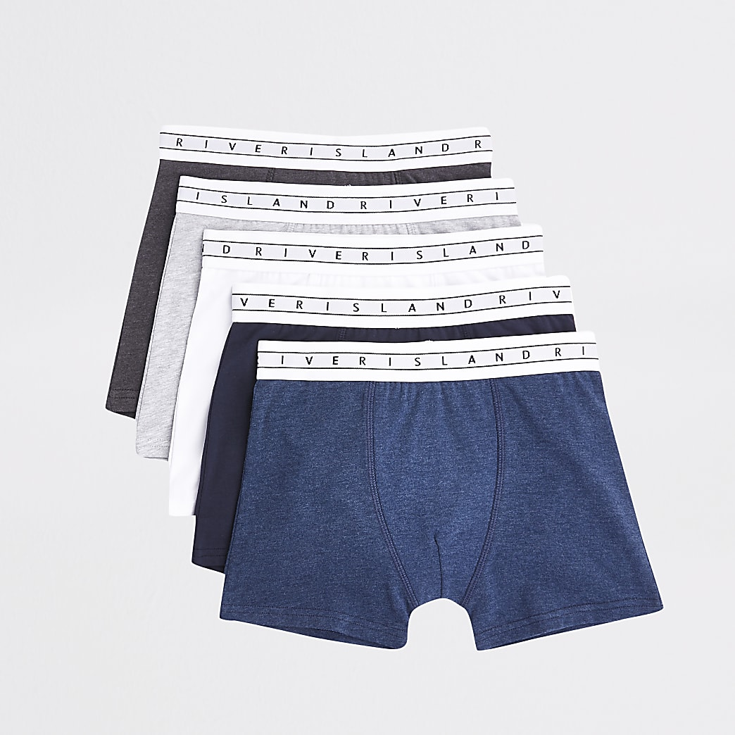 Boys navy RI boxers 5 pack