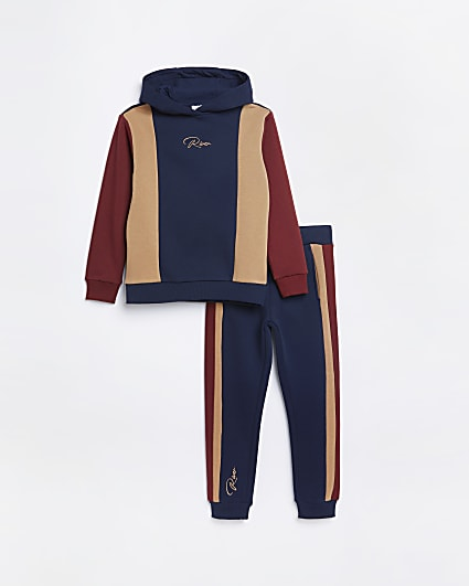 Boys navy RI colour block hoodie outfit