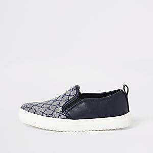 Marineblauwe slip-on sneakers met RI-jacquardprint voor jongens