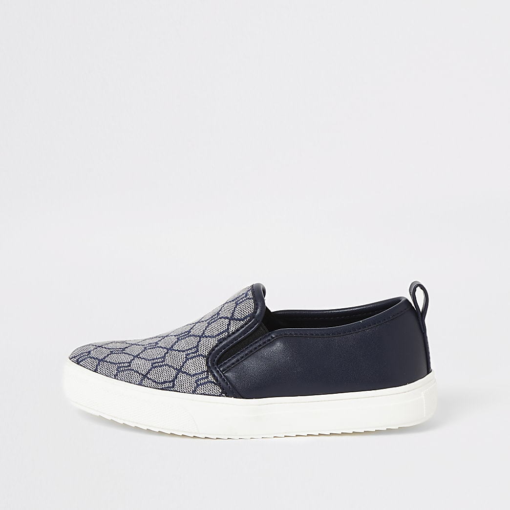 Boys navy RI jacquard slip on trainers