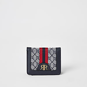 Boys navy RI monogram jacquard wallet