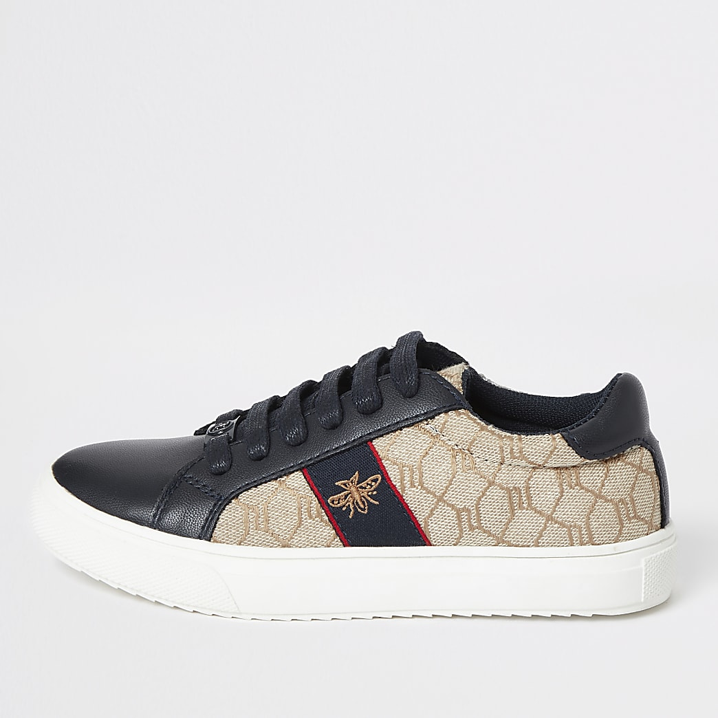 Boys navy RI monogram trainers