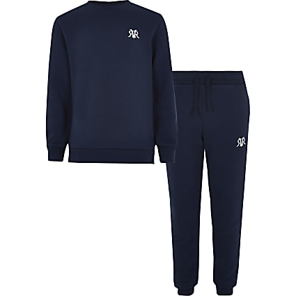 Boys navy RI sweatshirt outfit
