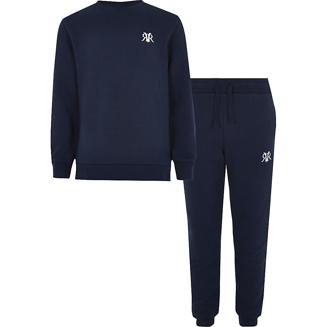 Outfit met marineblauw sweatshirt met RI-logo voor jongens
