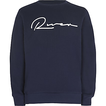 Boys navy 'River' chest print sweatshirt