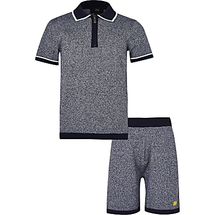 Boys navy River polo shirt and shorts outfit