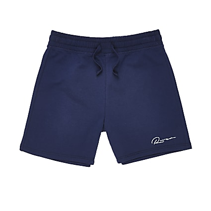 Boys navy 'River' print shorts