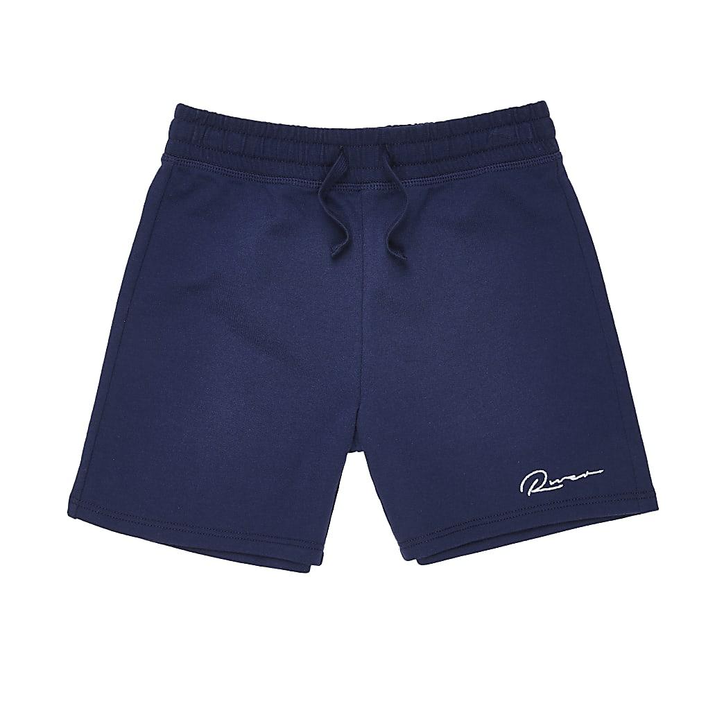 Boys navy 'River' print shorts