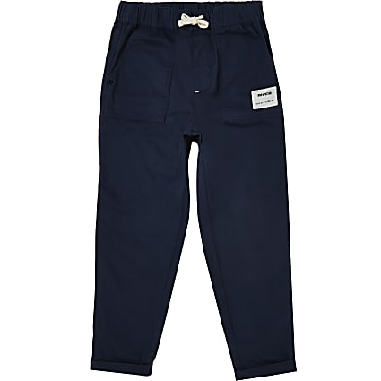 Boys navy River pull on trousers