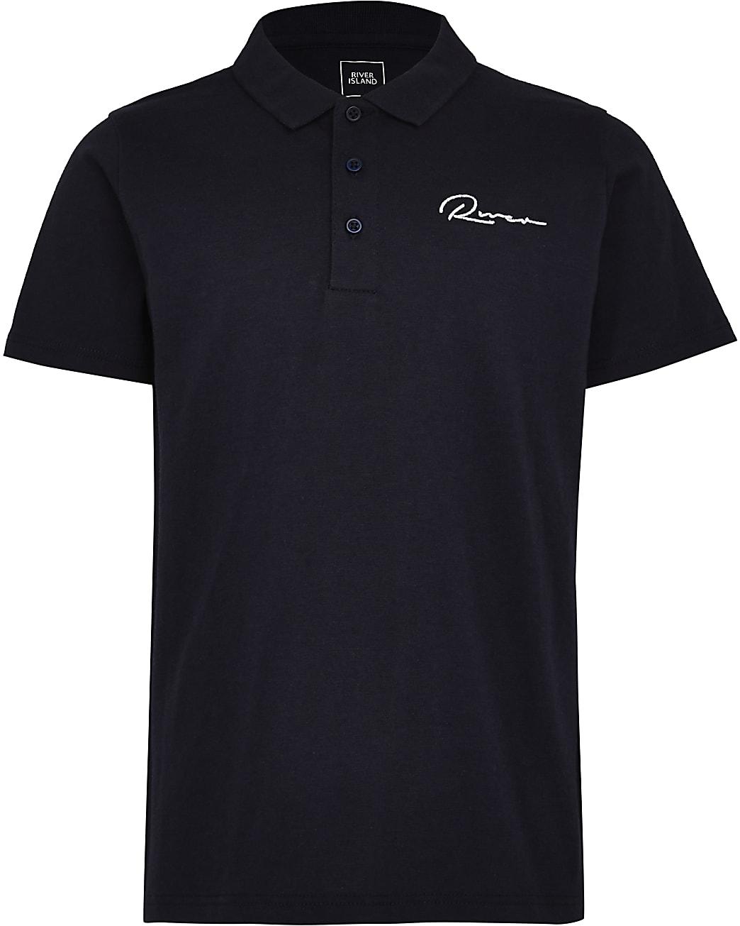 Boys navy River short sleeve polo shirt
