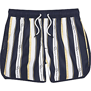 Boys navy 'River' stripe swim shirts