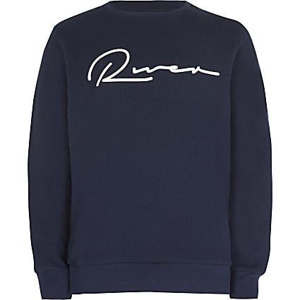 Boys navy 'River' sweatshirt