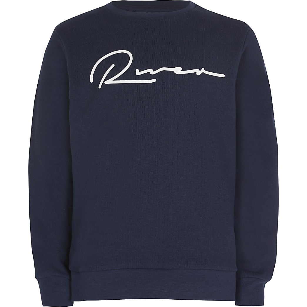 Boys navy 'River' sweatshirt