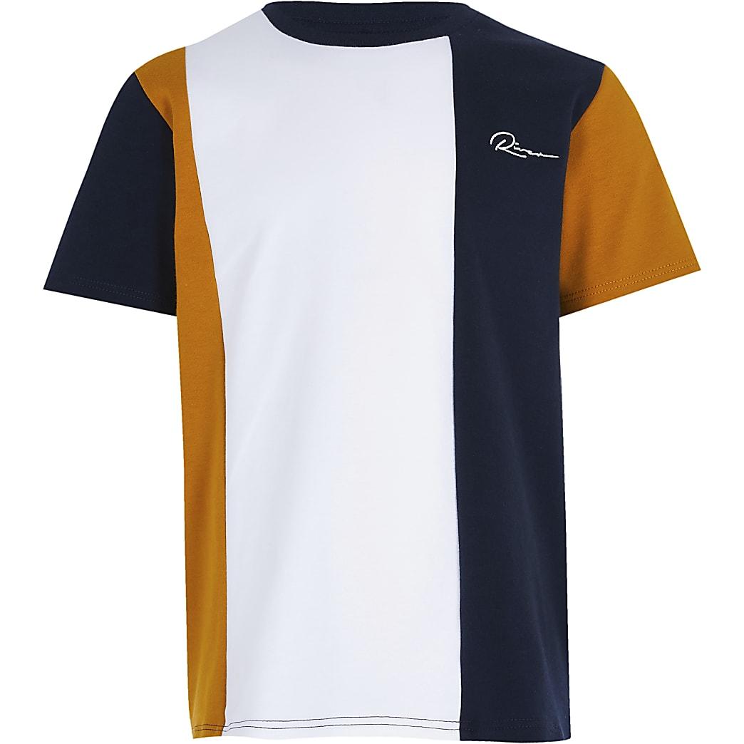 Boys navy 'River' vertical blocked t-shirt